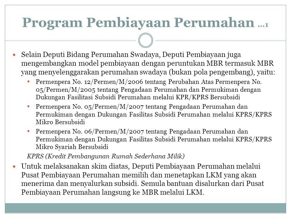 Program Pembiayaan Perumahan...1 Selain Deputi Bidang Perumahan Swadaya, Deputi Pembiayaan juga mengembangkan model pembiayaan dengan peruntukan MBR t