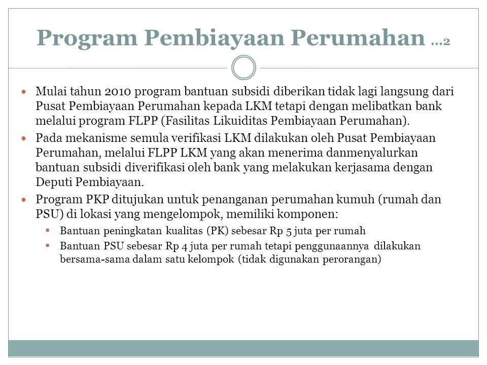 Program Pembiayaan Perumahan...2 Mulai tahun 2010 program bantuan subsidi diberikan tidak lagi langsung dari Pusat Pembiayaan Perumahan kepada LKM tet