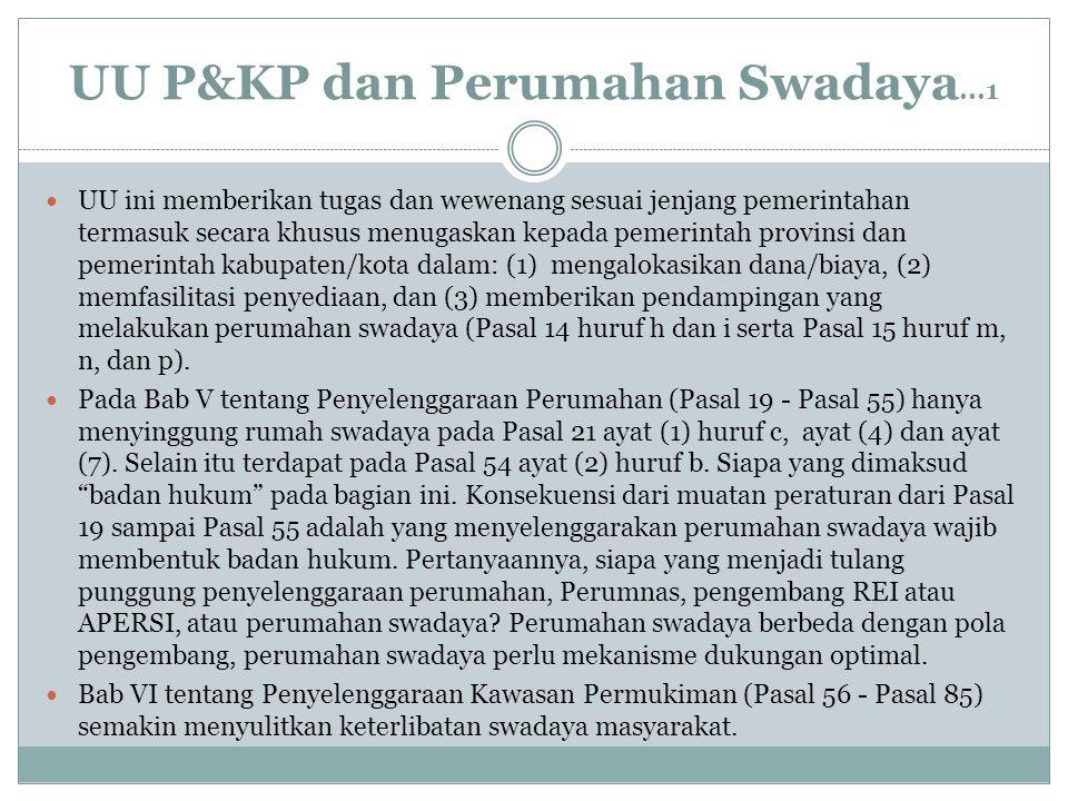 UU P&KP dan Perumahan Swadaya...1 UU ini memberikan tugas dan wewenang sesuai jenjang pemerintahan termasuk secara khusus menugaskan kepada pemerintah