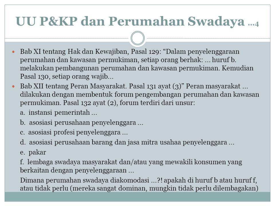 "UU P&KP dan Perumahan Swadaya...4 Bab XI tentang Hak dan Kewajiban, Pasal 129: ""Dalam penyelenggaraan perumahan dan kawasan permukiman, setiap orang b"