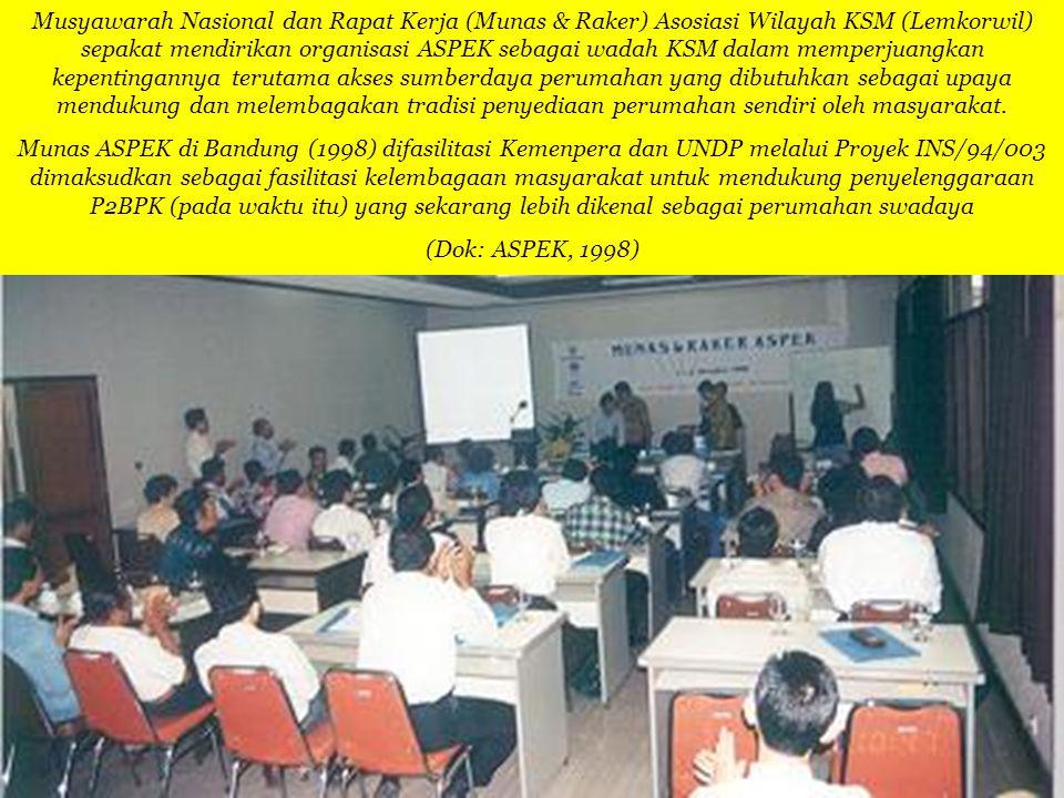 Musyawarah Nasional dan Rapat Kerja (Munas & Raker) Asosiasi Wilayah KSM (Lemkorwil) sepakat mendirikan organisasi ASPEK sebagai wadah KSM dalam mempe