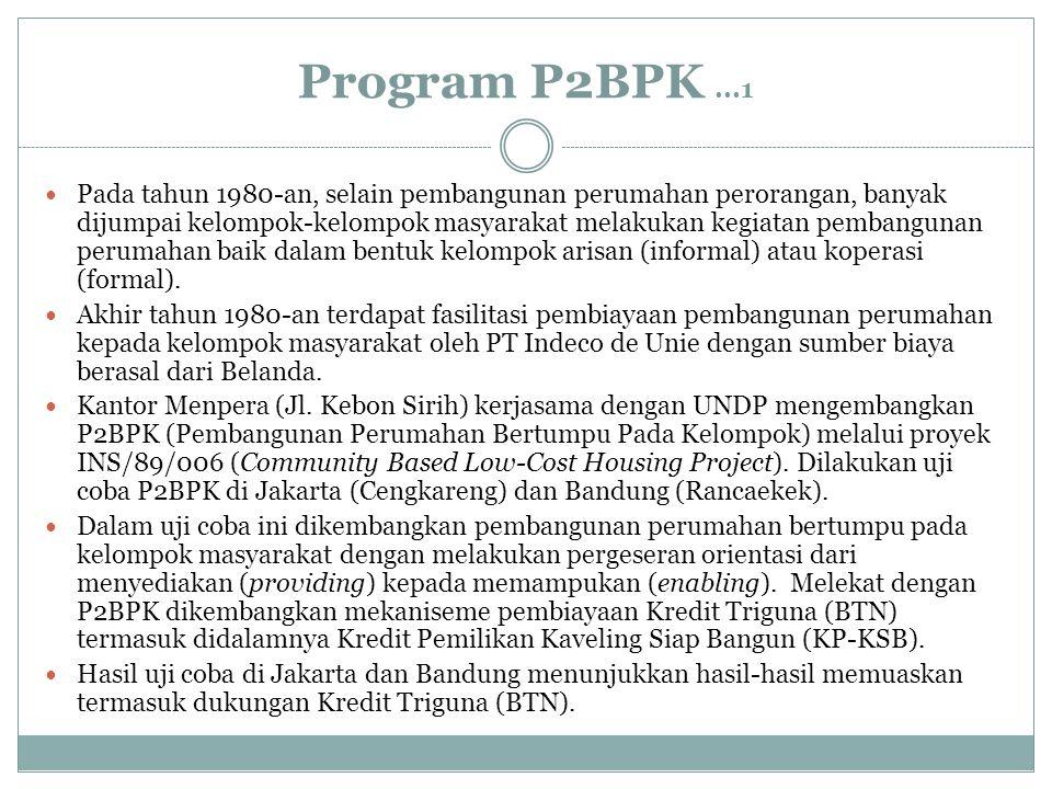 Program P2BPK...1 Pada tahun 1980-an, selain pembangunan perumahan perorangan, banyak dijumpai kelompok-kelompok masyarakat melakukan kegiatan pembang