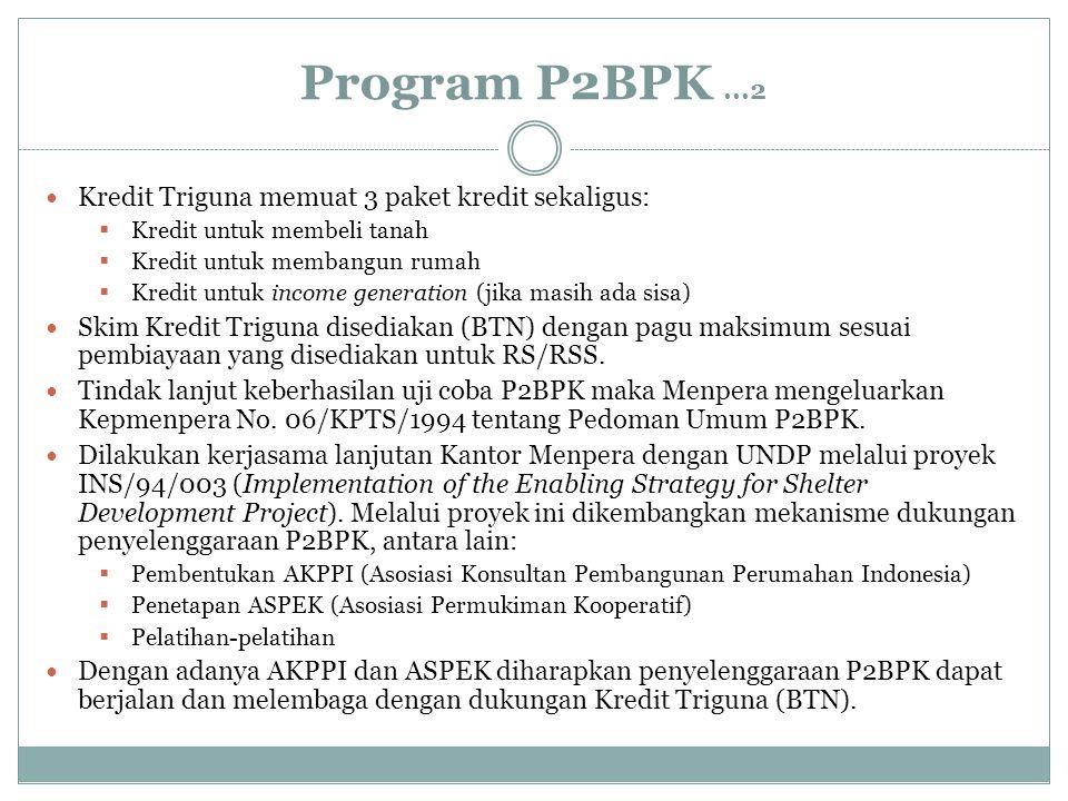 Program P2BPK...2 Kredit Triguna memuat 3 paket kredit sekaligus:  Kredit untuk membeli tanah  Kredit untuk membangun rumah  Kredit untuk income ge