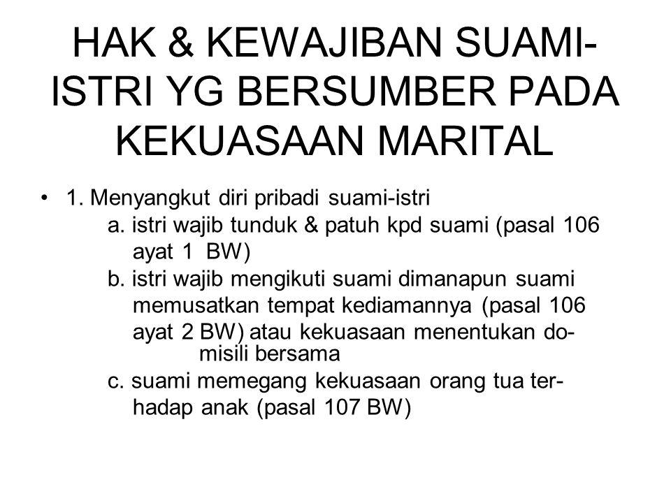 2.Menyangkut harta pihak istri (pasal 105 BW jo Pasal 108 BW) a.