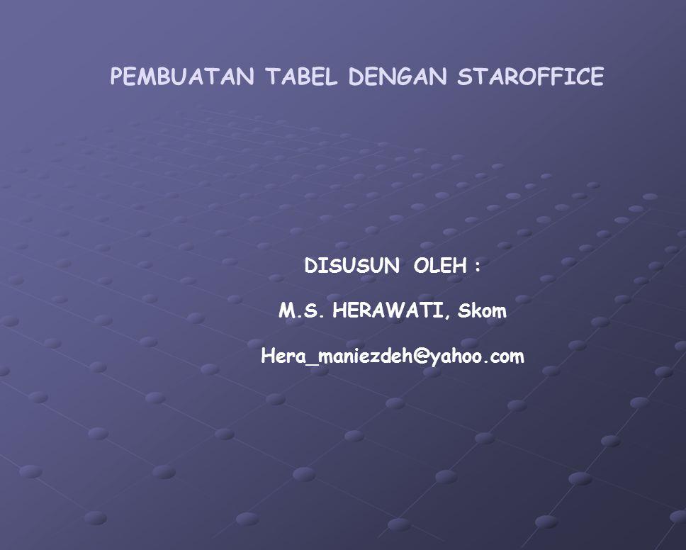 PEMBUATAN TABEL DENGAN STAROFFICE DISUSUN OLEH : M.S. HERAWATI, Skom Hera_maniezdeh@yahoo.com