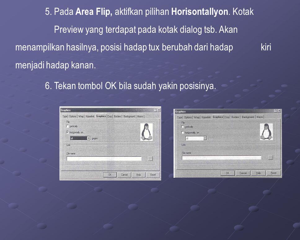 5. Pada Area Flip, aktifkan pilihan Horisontallyon.