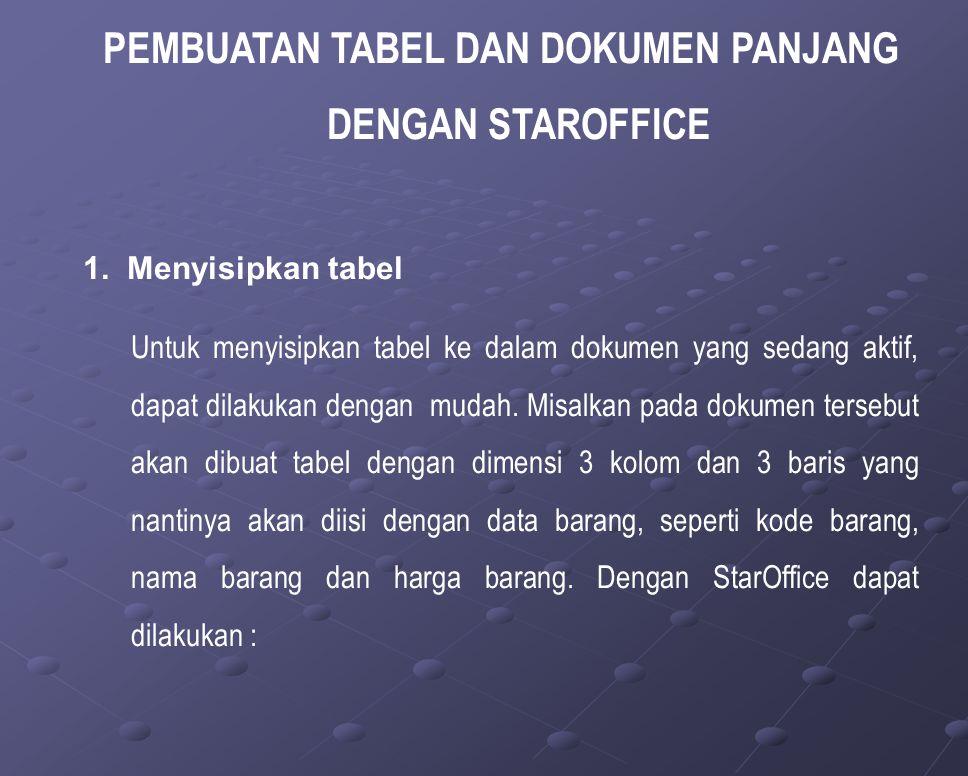 PEMBUATAN TABEL DAN DOKUMEN PANJANG DENGAN STAROFFICE 1.