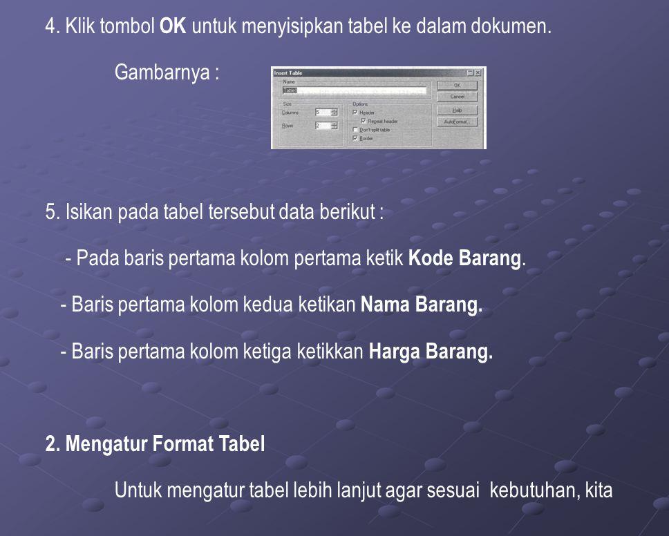 4. Klik tombol OK untuk menyisipkan tabel ke dalam dokumen.