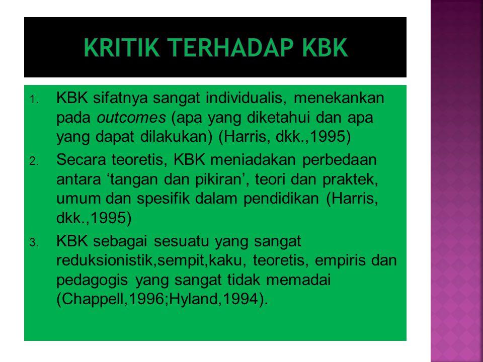 1. KBK sifatnya sangat individualis, menekankan pada outcomes (apa yang diketahui dan apa yang dapat dilakukan) (Harris, dkk.,1995) 2. Secara teoretis