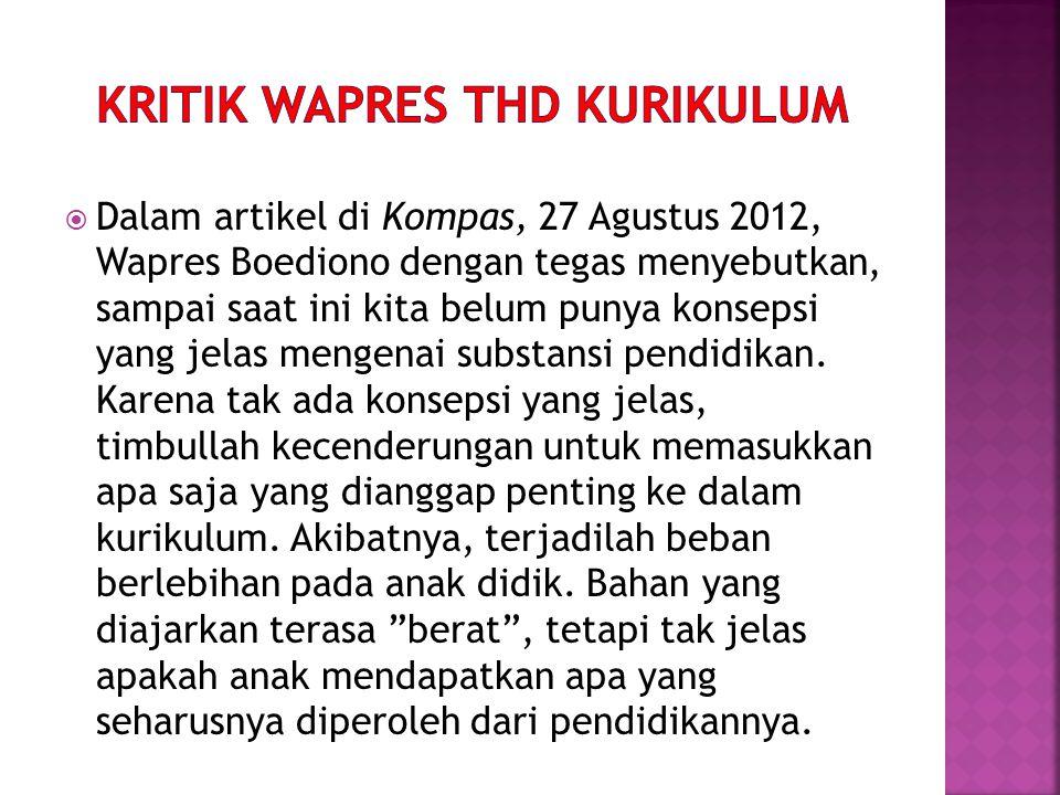  Dalam artikel di Kompas, 27 Agustus 2012, Wapres Boediono dengan tegas menyebutkan, sampai saat ini kita belum punya konsepsi yang jelas mengenai su