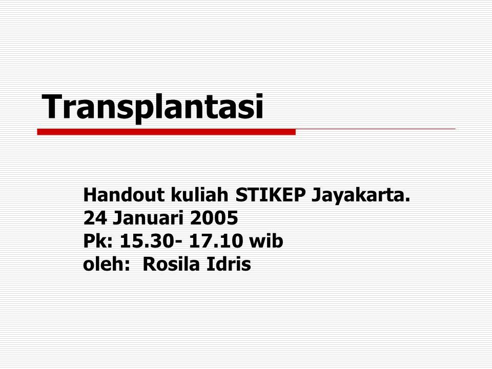 Transplantasi…1 Transplantasi organ atau jaringan bertujuan mengganti fungsi organ atau jaringan yang rusak dengan organ atau jaringan yang sehat.