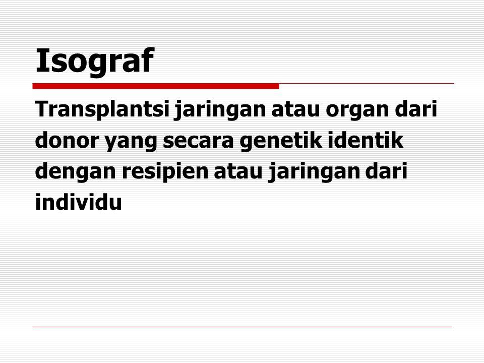 Isograf Transplantsi jaringan atau organ dari donor yang secara genetik identik dengan resipien atau jaringan dari individu