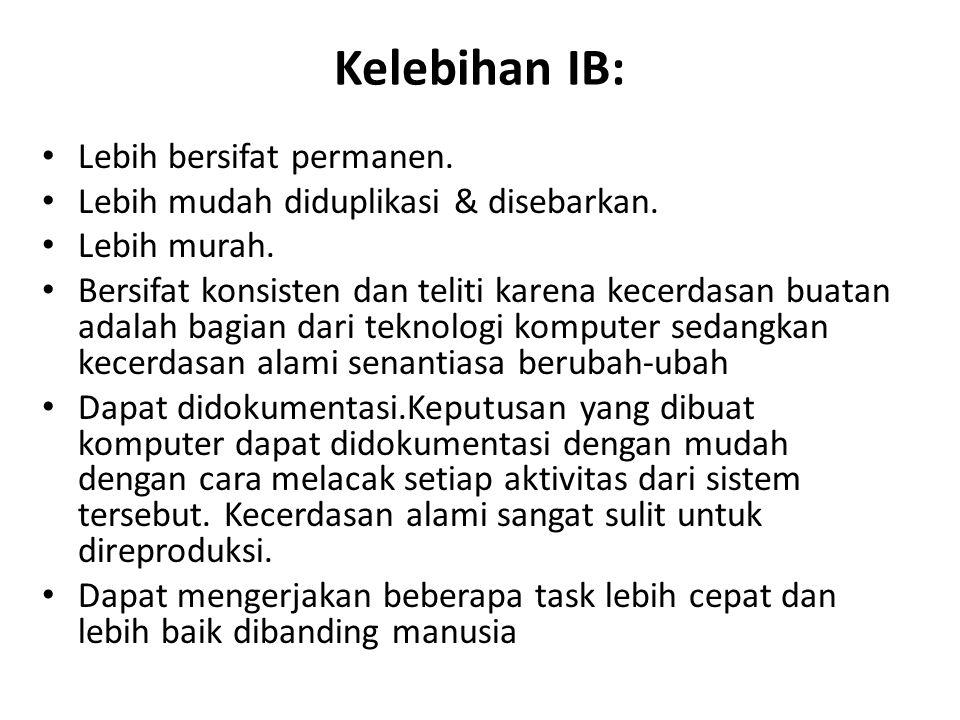 Kelebihan IB: Lebih bersifat permanen. Lebih mudah diduplikasi & disebarkan. Lebih murah. Bersifat konsisten dan teliti karena kecerdasan buatan adala