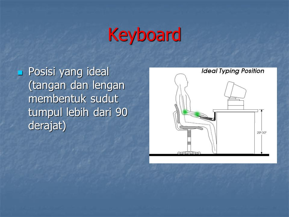 Keyboard Posisi yang ideal (tangan dan lengan membentuk sudut tumpul lebih dari 90 derajat) Posisi yang ideal (tangan dan lengan membentuk sudut tumpu