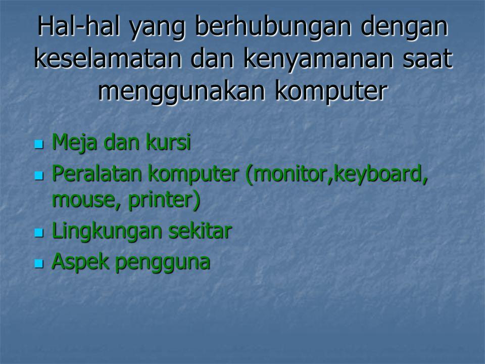 Hal-hal yang berhubungan dengan keselamatan dan kenyamanan saat menggunakan komputer Meja dan kursi Meja dan kursi Peralatan komputer (monitor,keyboar