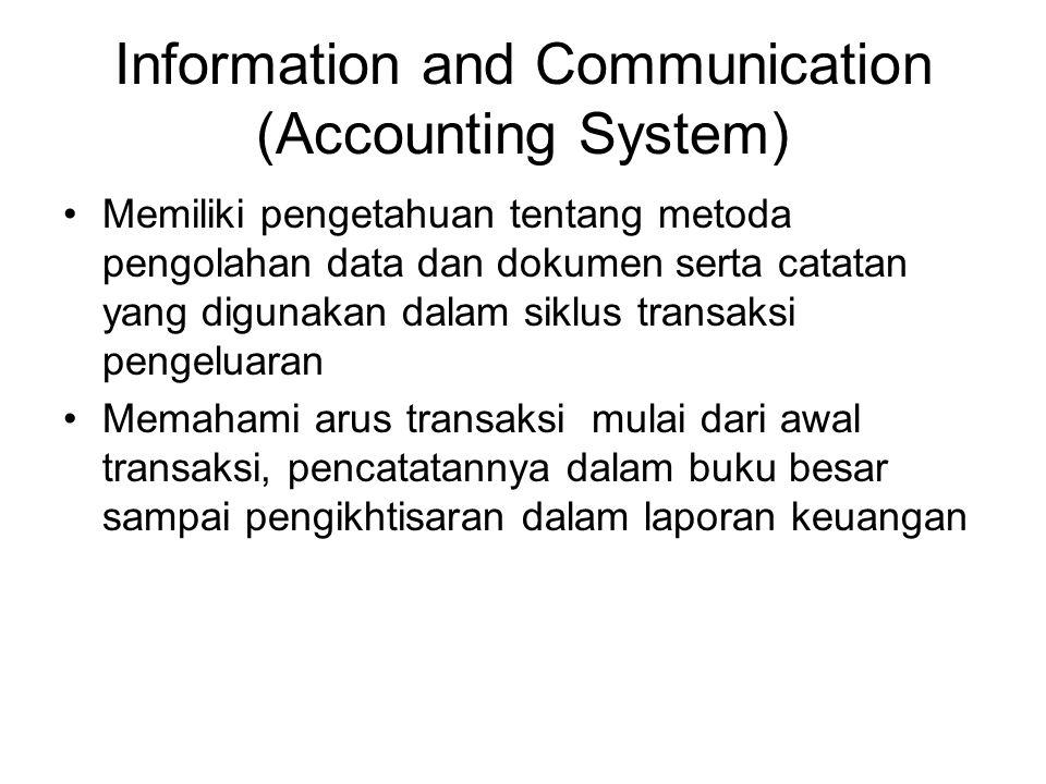Information and Communication (Accounting System) Memiliki pengetahuan tentang metoda pengolahan data dan dokumen serta catatan yang digunakan dalam s