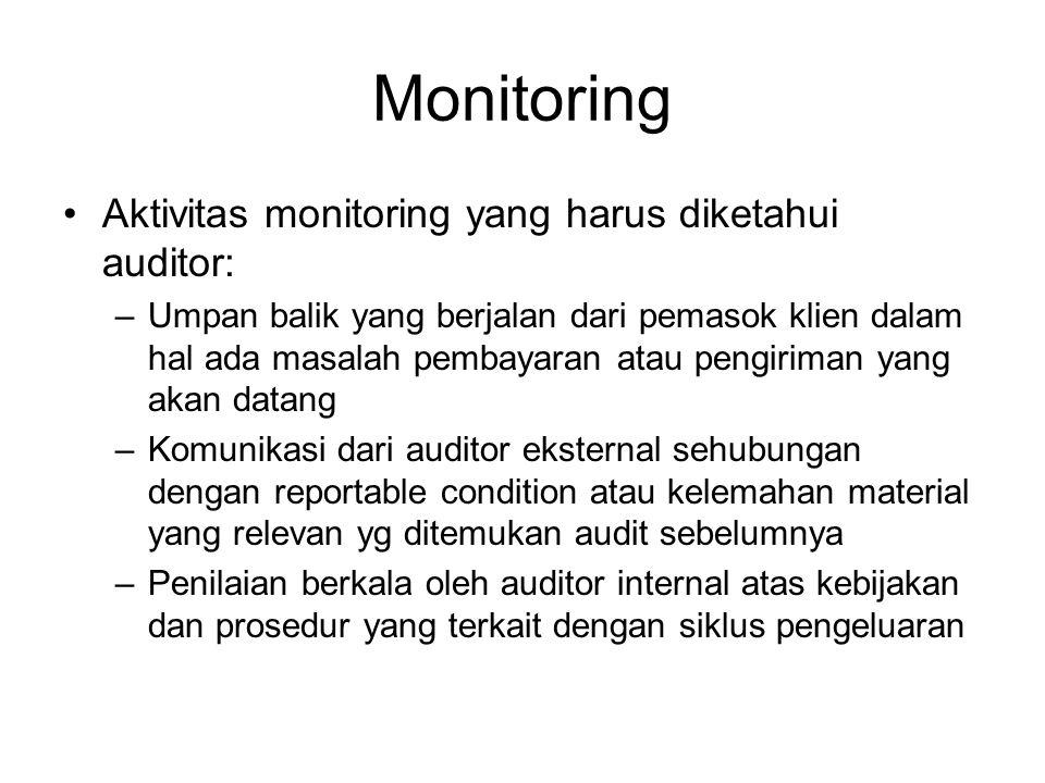 Monitoring Aktivitas monitoring yang harus diketahui auditor: –Umpan balik yang berjalan dari pemasok klien dalam hal ada masalah pembayaran atau peng