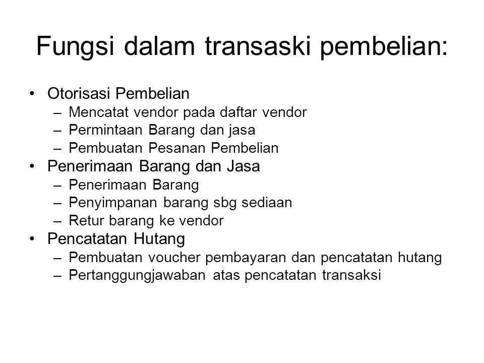 Fungsi dalam transaski pembelian: Otorisasi Pembelian –Mencatat vendor pada daftar vendor –Permintaan Barang dan jasa –Pembuatan Pesanan Pembelian Pen