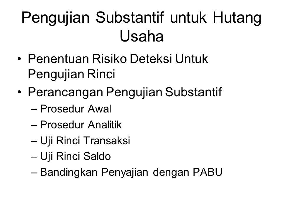 Pengujian Substantif untuk Hutang Usaha Penentuan Risiko Deteksi Untuk Pengujian Rinci Perancangan Pengujian Substantif –Prosedur Awal –Prosedur Anali