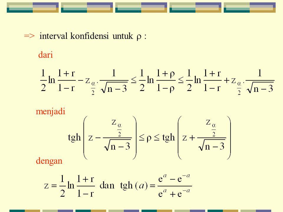 => interval konfidensi untuk  : dari menjadi dengan