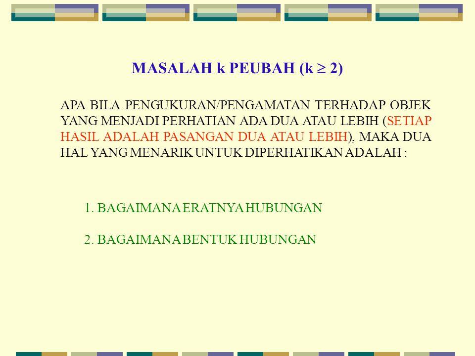 MASALAH k PEUBAH (k  2) APA BILA PENGUKURAN/PENGAMATAN TERHADAP OBJEK YANG MENJADI PERHATIAN ADA DUA ATAU LEBIH (SETIAP HASIL ADALAH PASANGAN DUA ATAU LEBIH), MAKA DUA HAL YANG MENARIK UNTUK DIPERHATIKAN ADALAH : 1.