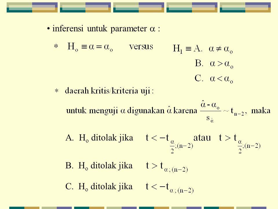inferensi untuk parameter  : A. H o ditolak jika B. H o ditolak jika C. H o ditolak jika