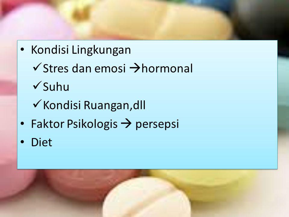 Kondisi Lingkungan Stres dan emosi  hormonal Suhu Kondisi Ruangan,dll Faktor Psikologis  persepsi Diet Kondisi Lingkungan Stres dan emosi  hormonal