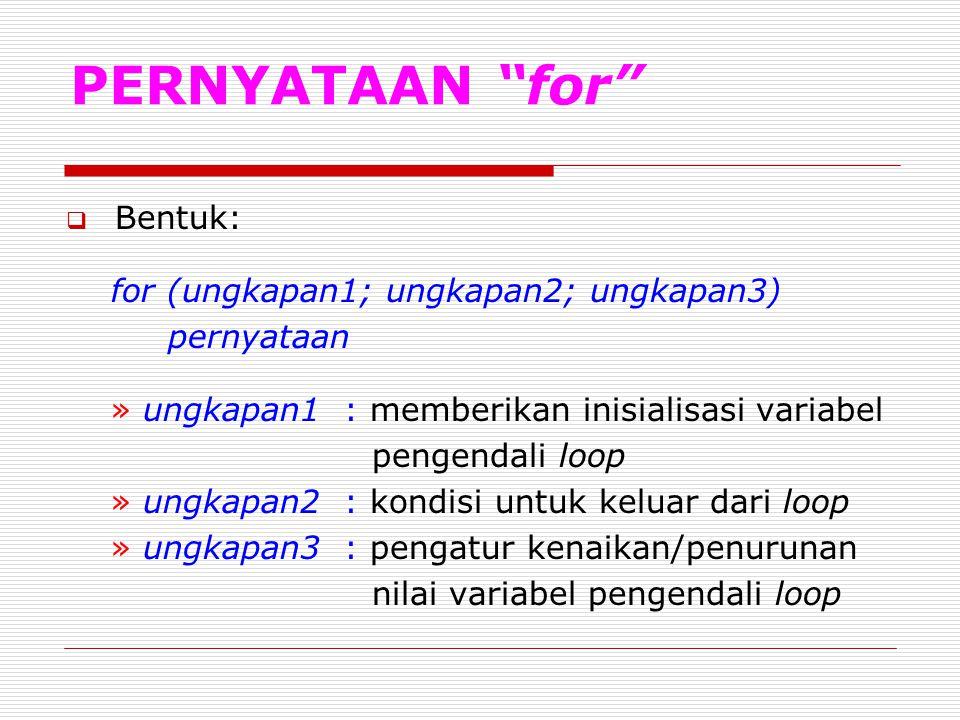 """PERNYATAAN """"for""""  Bentuk: for (ungkapan1; ungkapan2; ungkapan3) pernyataan » ungkapan1 : memberikan inisialisasi variabel pengendali loop » ungkapan2"""