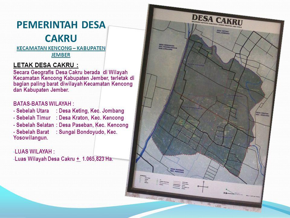 PEMERINTAH DESA CAKRU KECAMATAN KENCONG – KABUPATEN JEMBER LETAK DESA CAKRU : Secara Geografis Desa Cakru berada di Wilayah Kecamatan Kencong Kabupaten Jember, terletak di bagian paling barat diwilayah Kecamatan Kencong dan Kabupaten Jember.