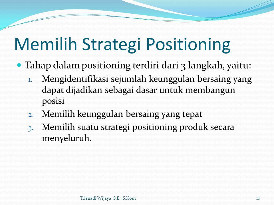 Memilih Strategi Positioning Tahap dalam positioning terdiri dari 3 langkah, yaitu: 1. Mengidentifikasi sejumlah keunggulan bersaing yang dapat dijadi