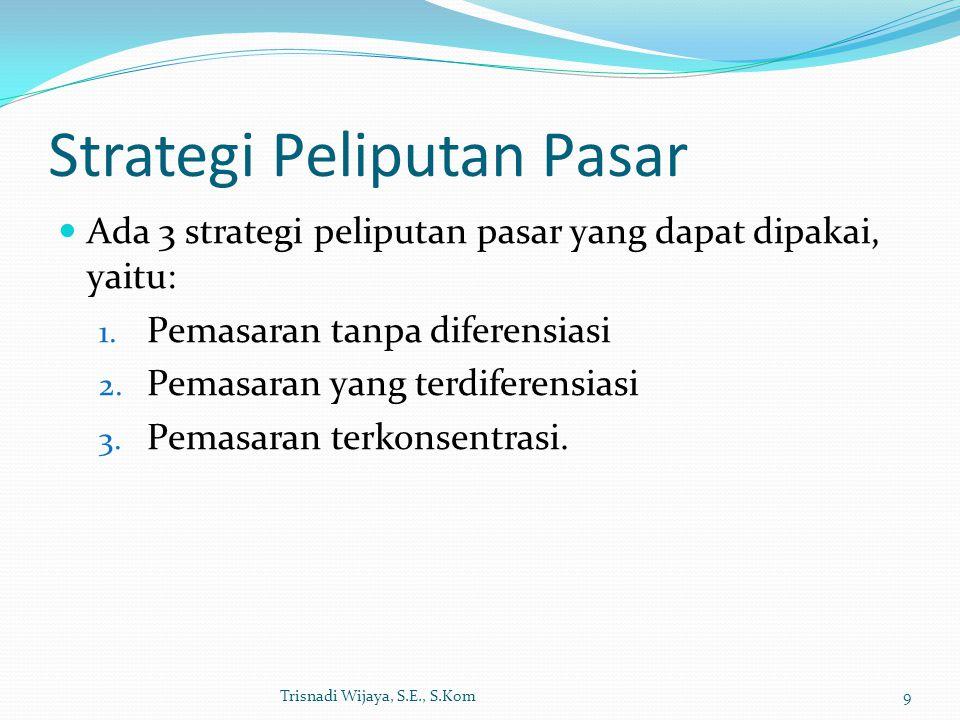 Strategi Peliputan Pasar Ada 3 strategi peliputan pasar yang dapat dipakai, yaitu: 1. Pemasaran tanpa diferensiasi 2. Pemasaran yang terdiferensiasi 3