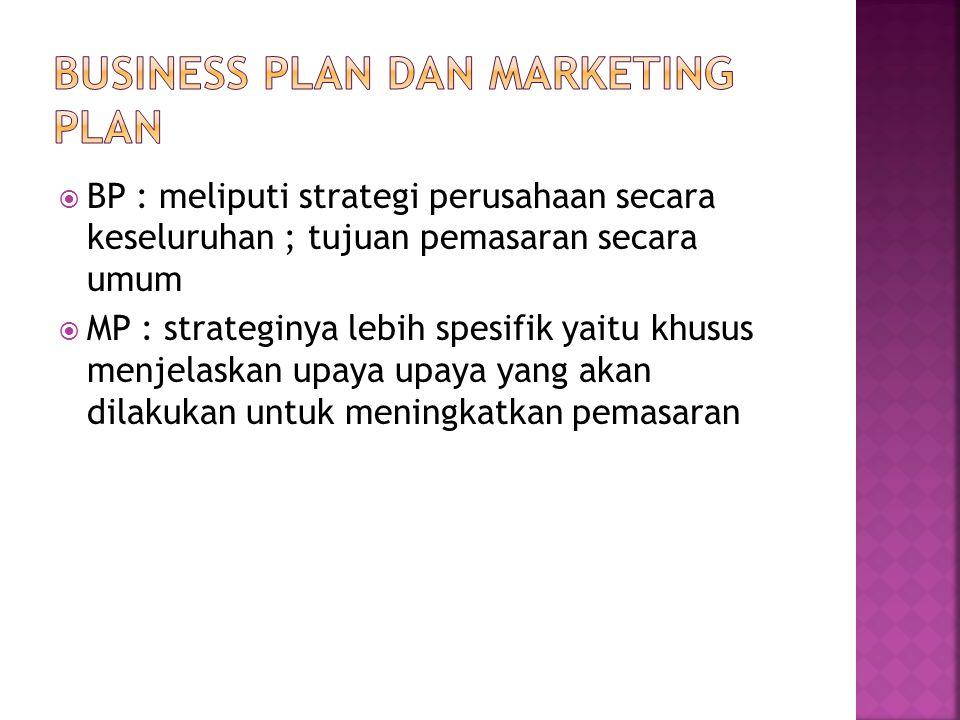  BP : meliputi strategi perusahaan secara keseluruhan ; tujuan pemasaran secara umum  MP : strateginya lebih spesifik yaitu khusus menjelaskan upaya