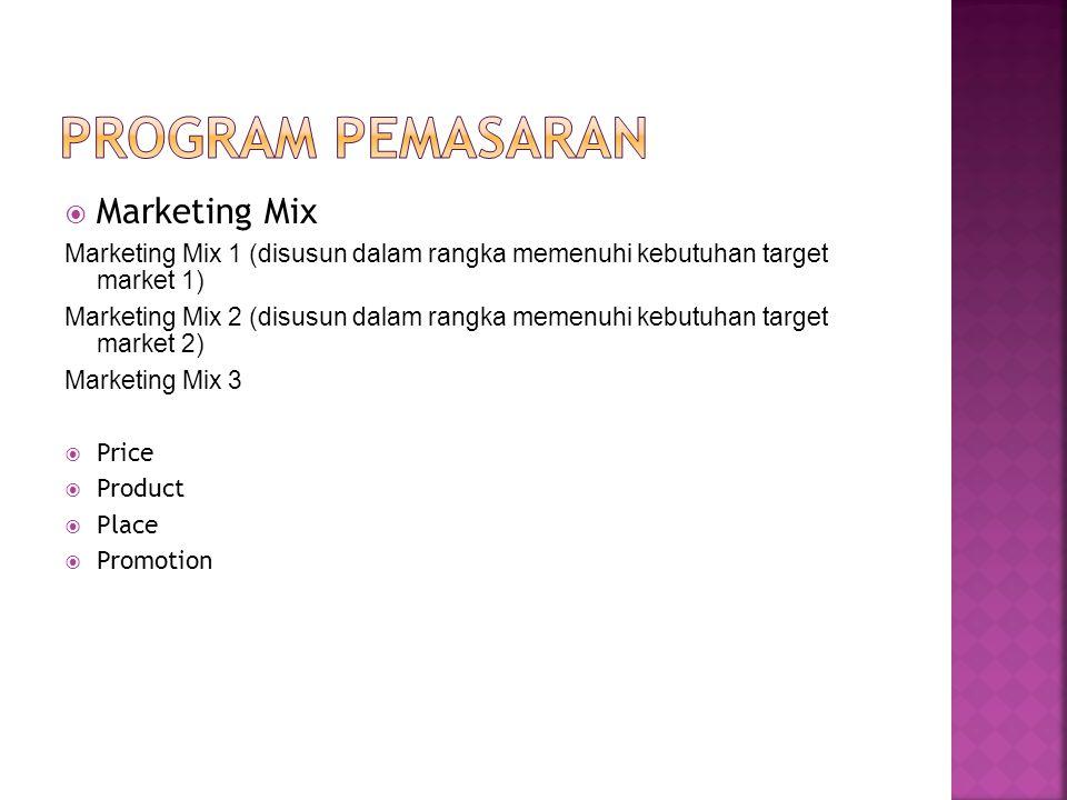  Marketing Mix Marketing Mix 1 (disusun dalam rangka memenuhi kebutuhan target market 1) Marketing Mix 2 (disusun dalam rangka memenuhi kebutuhan target market 2) Marketing Mix 3  Price  Product  Place  Promotion