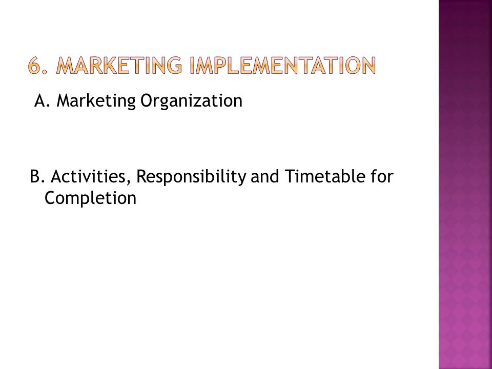 A. Marketing Organization B. Activities, Responsibility and Timetable for Completion
