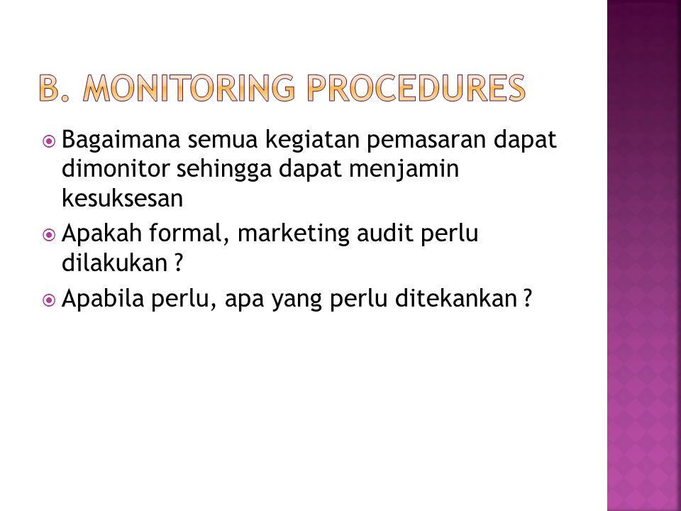  Bagaimana semua kegiatan pemasaran dapat dimonitor sehingga dapat menjamin kesuksesan  Apakah formal, marketing audit perlu dilakukan ?  Apabila p