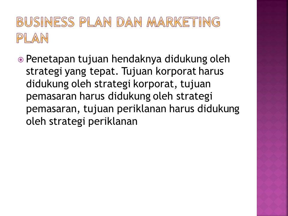  Penetapan tujuan hendaknya didukung oleh strategi yang tepat. Tujuan korporat harus didukung oleh strategi korporat, tujuan pemasaran harus didukung