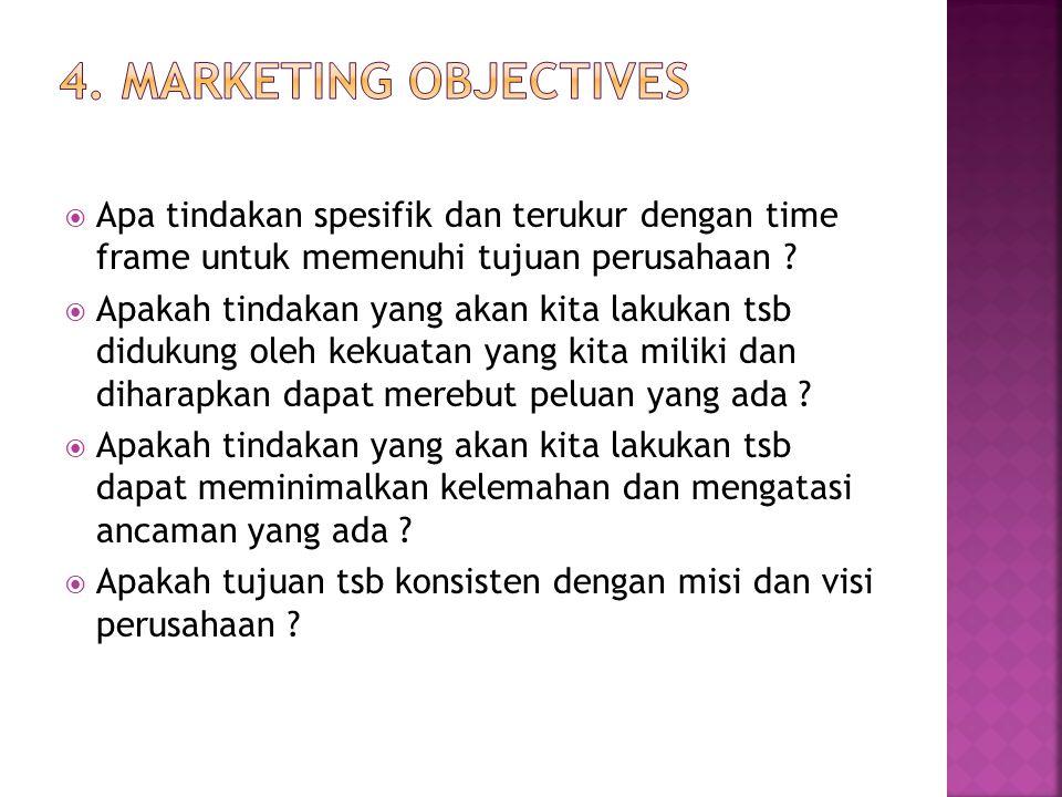  Apa tindakan spesifik dan terukur dengan time frame untuk memenuhi tujuan perusahaan ?  Apakah tindakan yang akan kita lakukan tsb didukung oleh ke