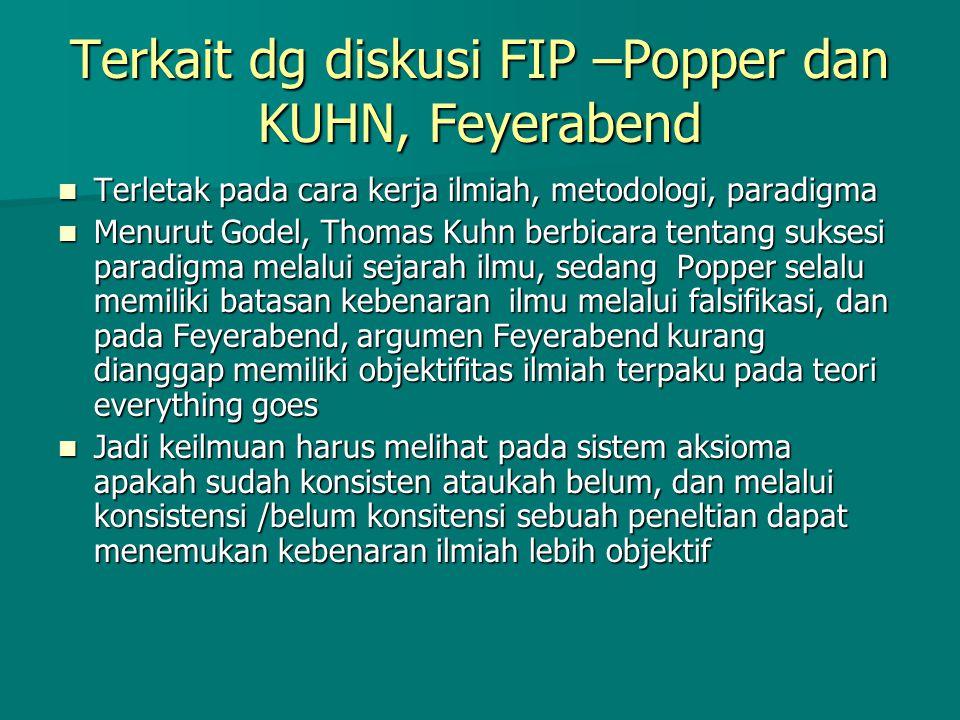 Terkait dg diskusi FIP –Popper dan KUHN, Feyerabend Terletak pada cara kerja ilmiah, metodologi, paradigma Terletak pada cara kerja ilmiah, metodologi