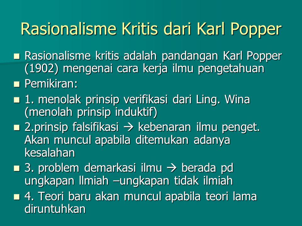 Rasionalisme Kritis dari Karl Popper Rasionalisme kritis adalah pandangan Karl Popper (1902) mengenai cara kerja ilmu pengetahuan Rasionalisme kritis