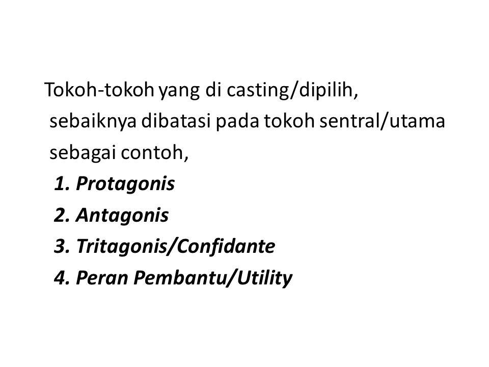 Tokoh-tokoh yang di casting/dipilih, sebaiknya dibatasi pada tokoh sentral/utama sebagai contoh, 1. Protagonis 2. Antagonis 3. Tritagonis/Confidante 4