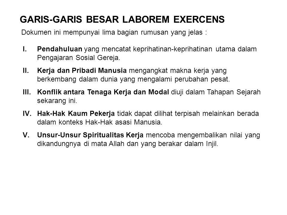GARIS-GARIS BESAR LABOREM EXERCENS Dokumen ini mempunyai lima bagian rumusan yang jelas : I.Pendahuluan yang mencatat keprihatinan-keprihatinan utama