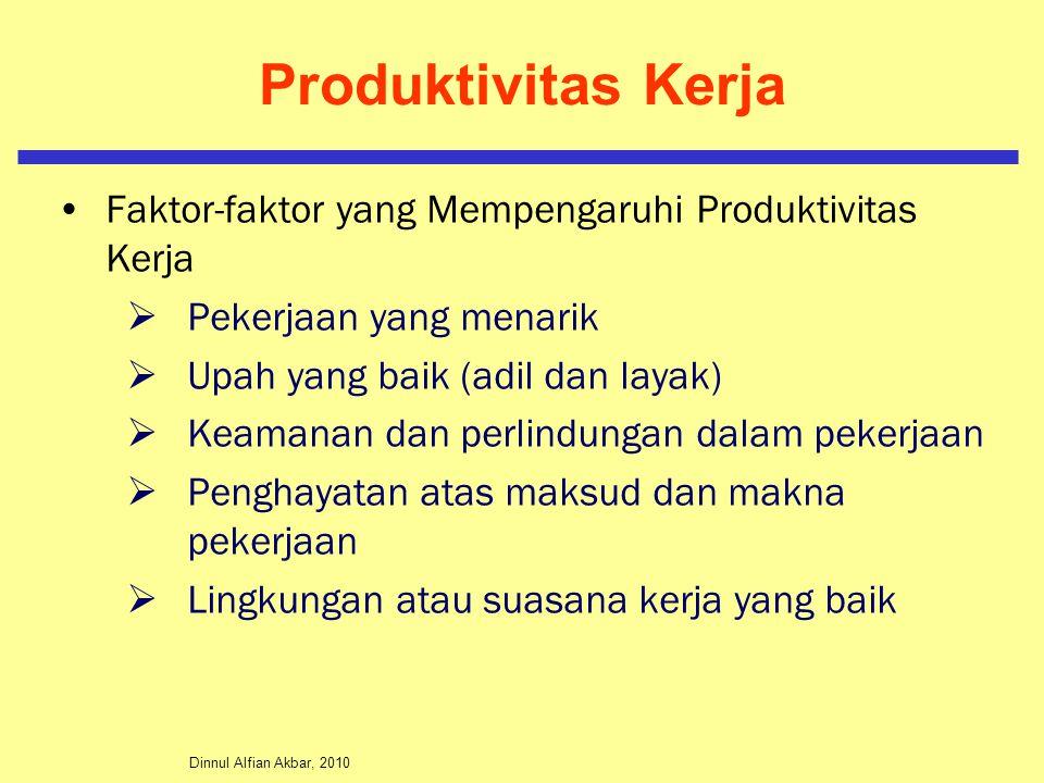Dinnul Alfian Akbar, 2010 Produktivitas Kerja Faktor-faktor yang Mempengaruhi Produktivitas Kerja  Pekerjaan yang menarik  Upah yang baik (adil dan layak)  Keamanan dan perlindungan dalam pekerjaan  Penghayatan atas maksud dan makna pekerjaan  Lingkungan atau suasana kerja yang baik