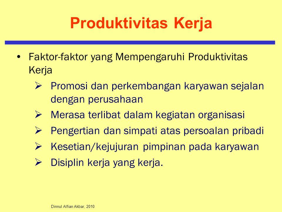 Dinnul Alfian Akbar, 2010 Produktivitas Kerja Faktor-faktor yang Mempengaruhi Produktivitas Kerja  Promosi dan perkembangan karyawan sejalan dengan perusahaan  Merasa terlibat dalam kegiatan organisasi  Pengertian dan simpati atas persoalan pribadi  Kesetian/kejujuran pimpinan pada karyawan  Disiplin kerja yang kerja.