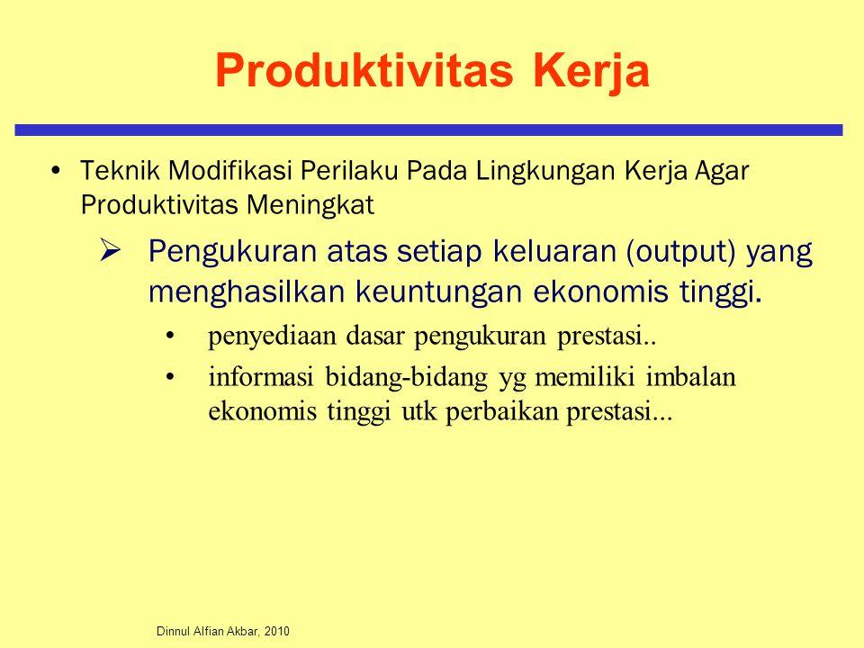 Dinnul Alfian Akbar, 2010 Produktivitas Kerja Teknik Modifikasi Perilaku Pada Lingkungan Kerja Agar Produktivitas Meningkat  Pengukuran atas setiap k