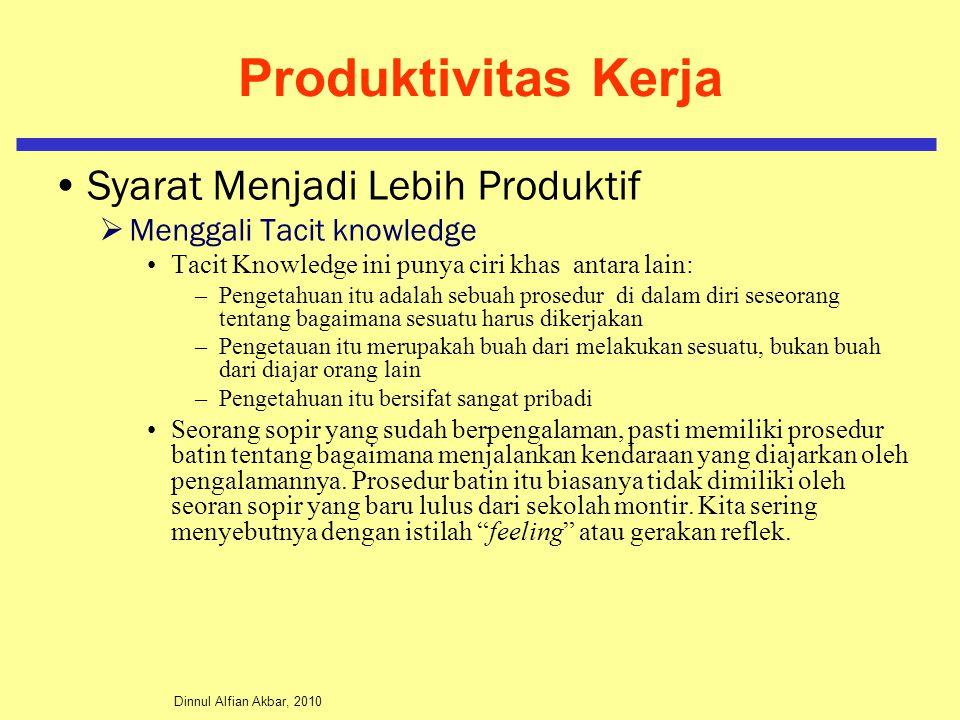 Dinnul Alfian Akbar, 2010 Produktivitas Kerja Syarat Menjadi Lebih Produktif  Menggali Tacit knowledge Tacit Knowledge ini punya ciri khas antara lai