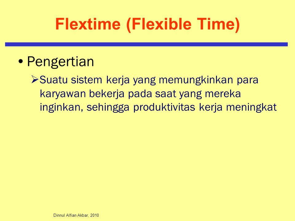 Dinnul Alfian Akbar, 2010 Flextime (Flexible Time) Pengertian  Suatu sistem kerja yang memungkinkan para karyawan bekerja pada saat yang mereka inginkan, sehingga produktivitas kerja meningkat