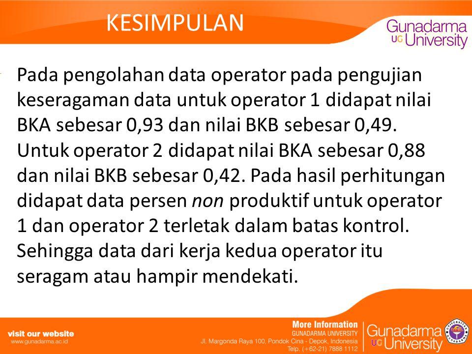 KESIMPULAN Pada pengolahan data operator pada pengujian keseragaman data untuk operator 1 didapat nilai BKA sebesar 0,93 dan nilai BKB sebesar 0,49. U
