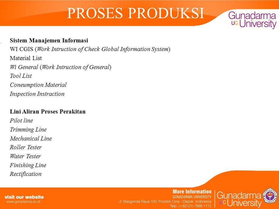 PROSES PRODUKSI Sistem Manajemen Informasi WI CGIS (Work Intruction of Check Global Information System) Material List Wi General (Work Intruction of G