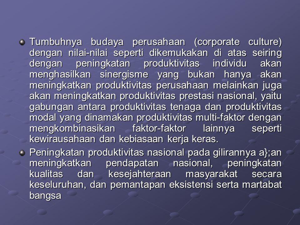 Tumbuhnya budaya perusahaan (corporate culture) dengan nilai-nilai seperti dikemukakan di atas seiring dengan peningkatan produktivitas individu akan