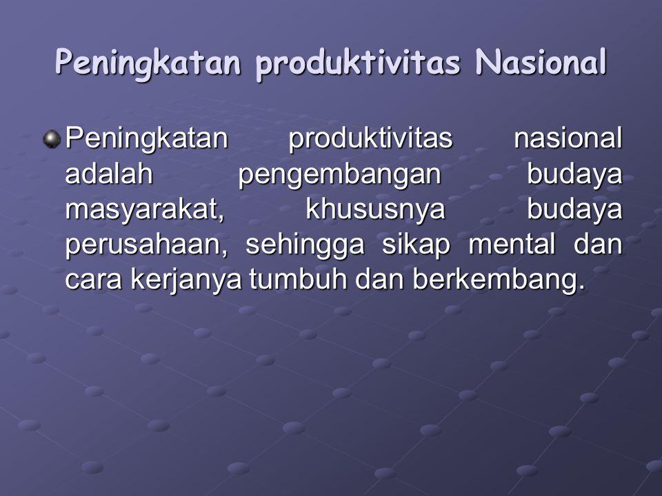 Peningkatan produktivitas Nasional Peningkatan produktivitas nasional adalah pengembangan budaya masyarakat, khususnya budaya perusahaan, sehingga sik